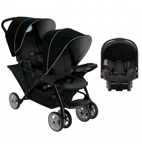 Graco Stadium Duo Double Pram Travel System (Snugride i-Size) - Black / Grey